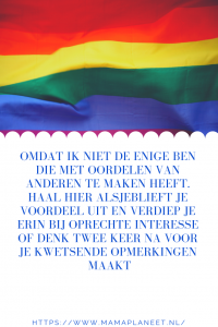 gay vlag artikel van een lesbische mama over oordelen van anderen