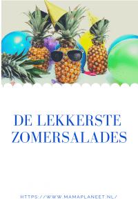vrolijke ananas met gekleurde ballonnen en zonnebrillen leuk voor een tuinfeestje net als zomerse salade