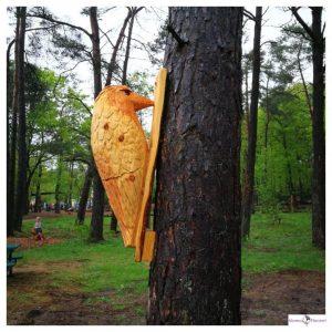 Houten specht aan een boom
