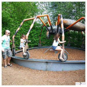 2 kinderen in een spin draaimolen