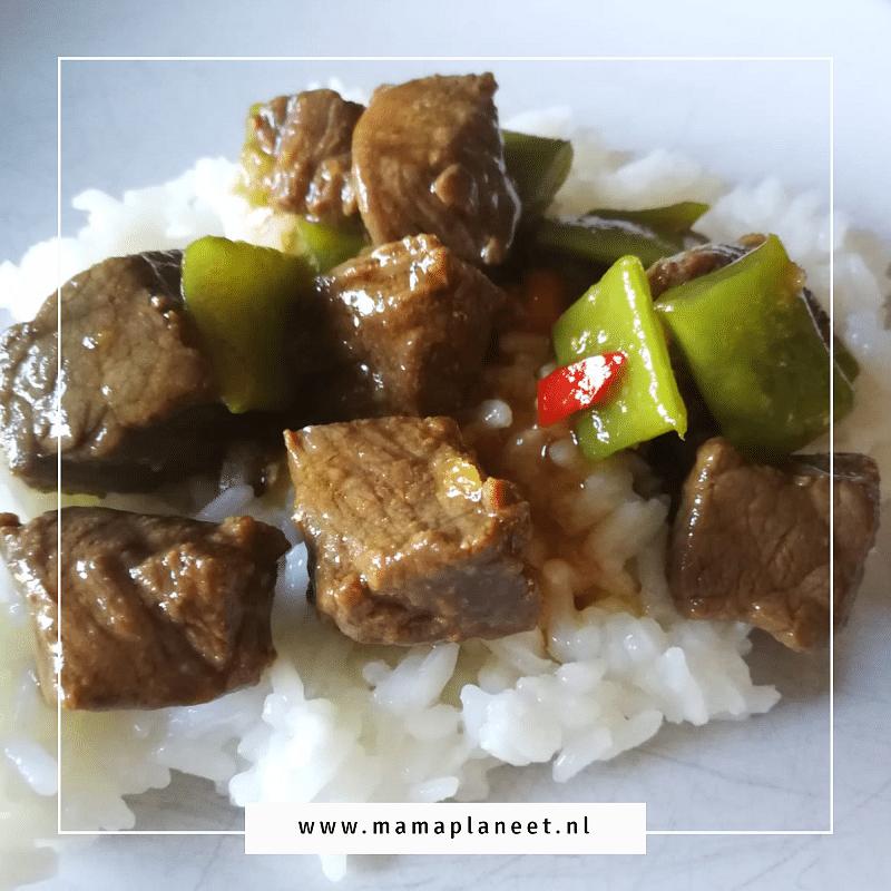 biefstukreepjes met rijst, snijbonen in teriyakisaus