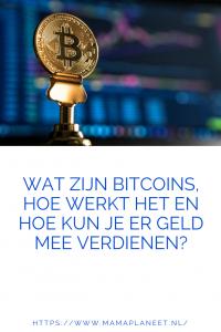 Cryptomunt bitcoin met de op de achtergrond de koers