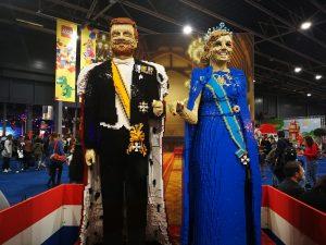 Koning WIllem-Alexander en Koningin Maxima gemaakt van legoblokjes LEGO world Jaarbeurs Utrecht
