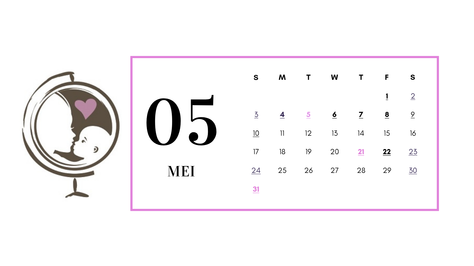 reizen met schoolgaande kinderen kalender mei 2020