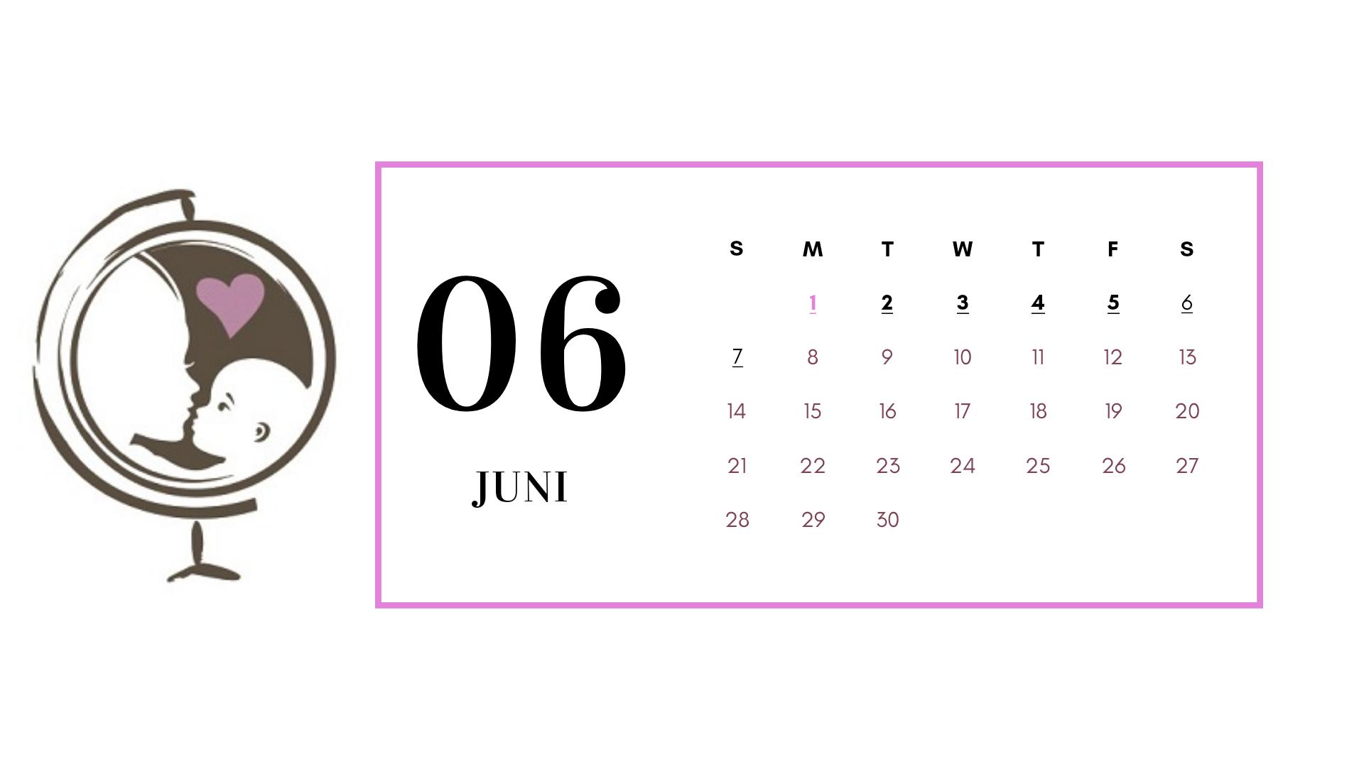 Kalender juni 2020 met vrije dagen