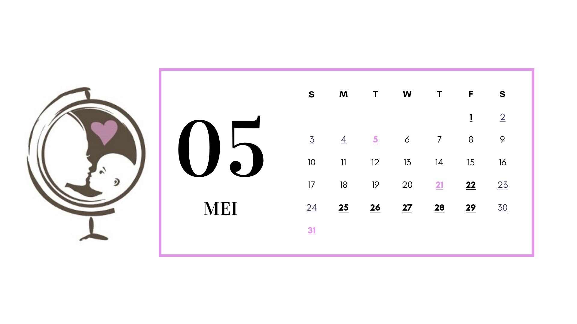 Kalender mei 2020 met vrije dagen