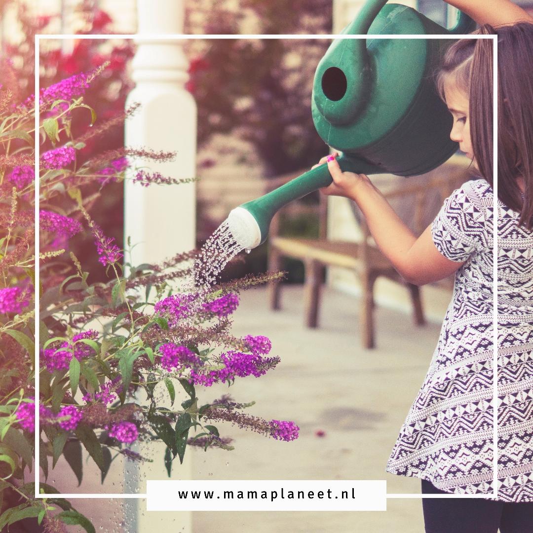 kind besproeit planten en bloemen met regenwater