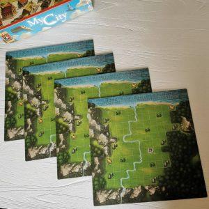 Dubbelzijdige speelbord van Legacy game met tetris blokjes van 999 games MamaPlaneet.nl