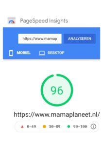 Site Snelheid mobiel Page Insights MamaPlaneet.nl