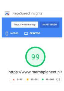 Site snelheid desktop Page Insights Mamaplaneet.nl