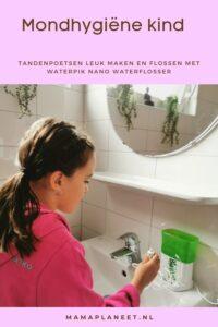 Mondhygiëne kind: Tandenpoetsen leuker maken en flossen met Flosapparaat Waterpik WP-260 Nano waterflosser review mamaplaneet.nl