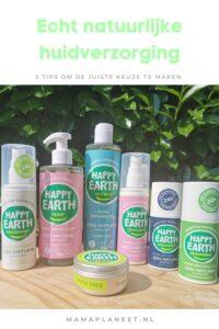 Echt natuurlijke verzorgingsproducten huid Happy Earth mamaplaneet.nl